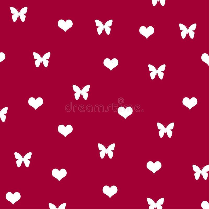 Carta da parati sveglia della farfalla del modello del fondo di amore bianco del cuore illustrazione di stock