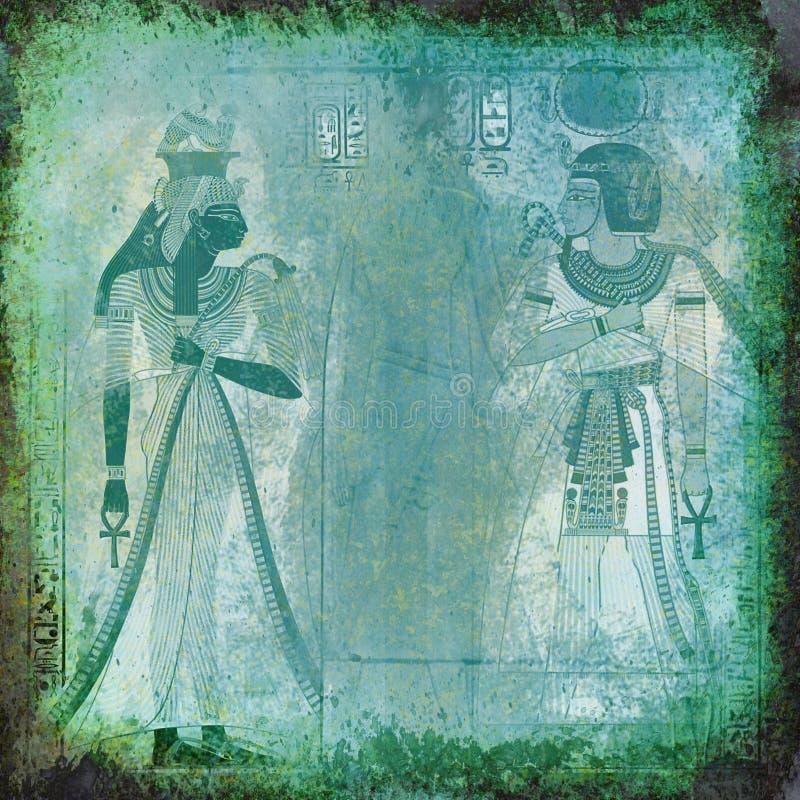 Carta da parati verde antica dell'Egitto illustrazione vettoriale