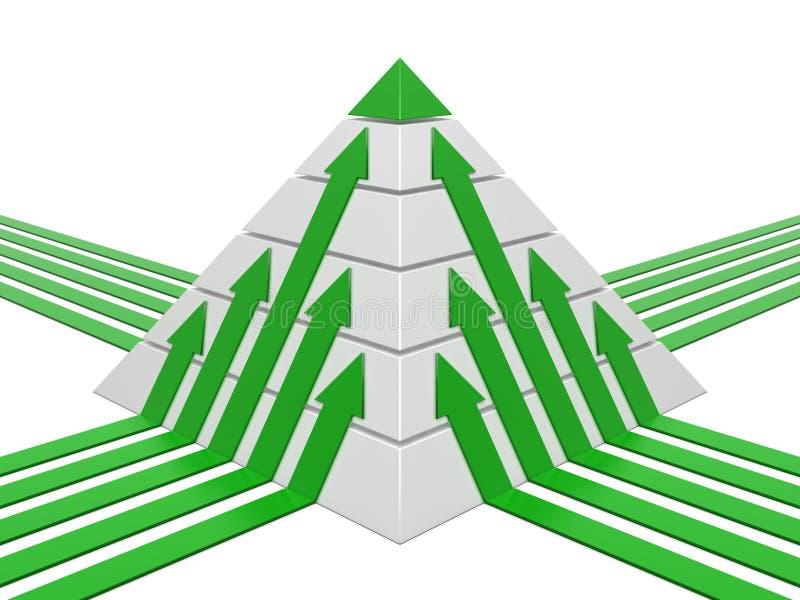 Carta da pirâmide verde-branca ilustração stock