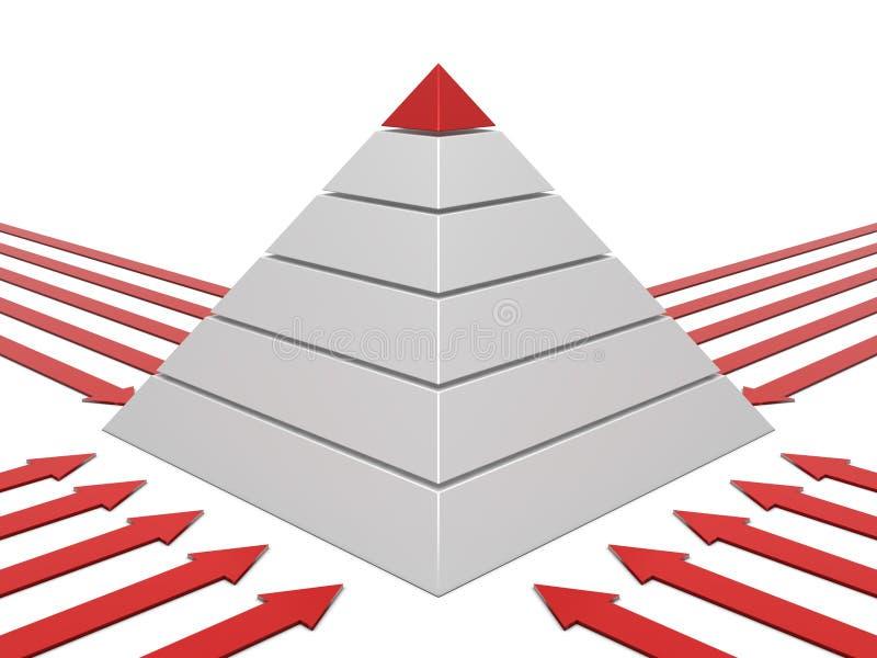 Carta da pirâmide vermelho-branca ilustração do vetor