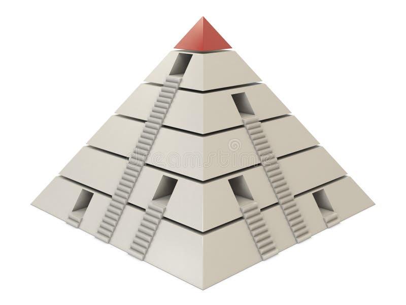 Carta da pirâmide vermelho-branca com escadas e furos ilustração do vetor