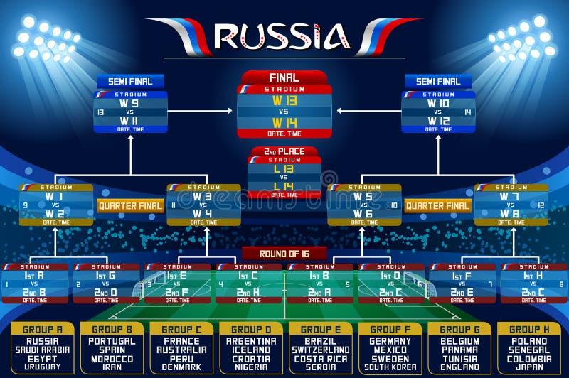 Carta da programação do campeonato do mundo de Rússia ilustração stock