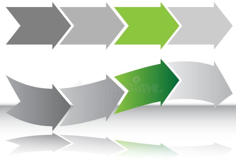Carta da seta do verde longo ilustração royalty free