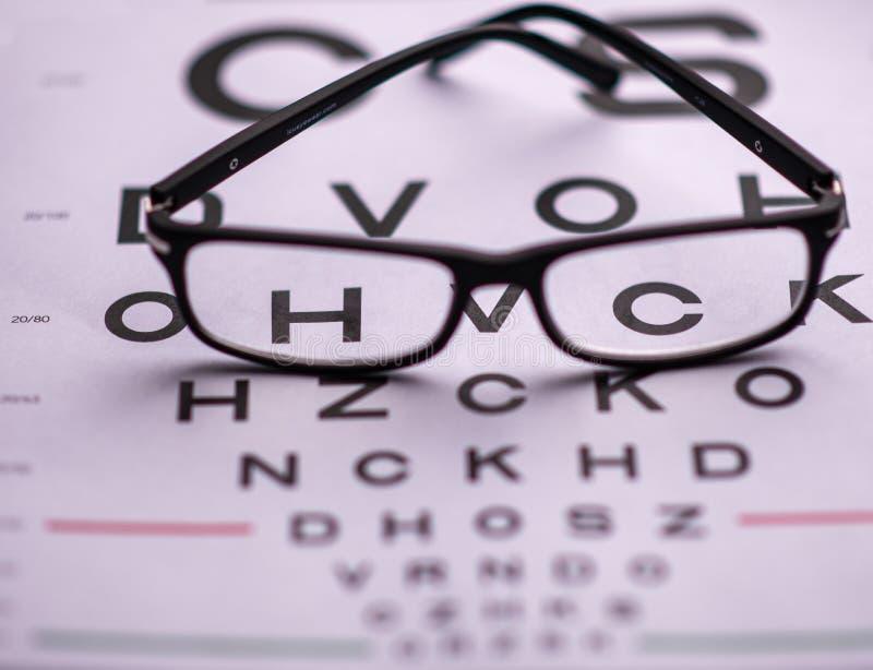 Carta da visão do olho com vidros imagens de stock royalty free