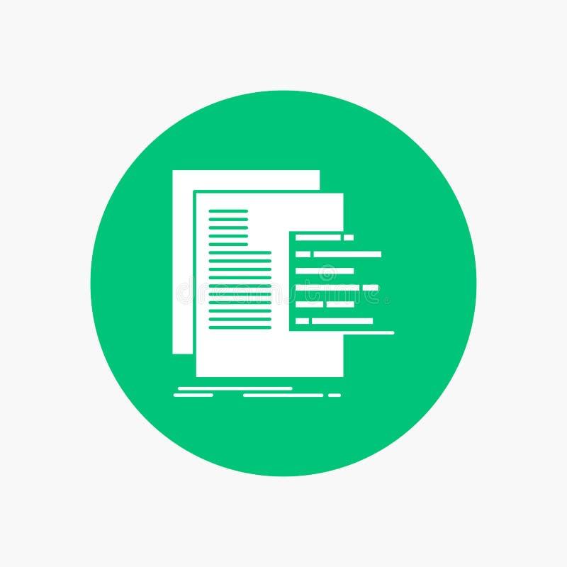 carta, datos, gráfico, informes, icono blanco del Glyph de la evaluación en círculo Ejemplo del bot?n del vector ilustración del vector
