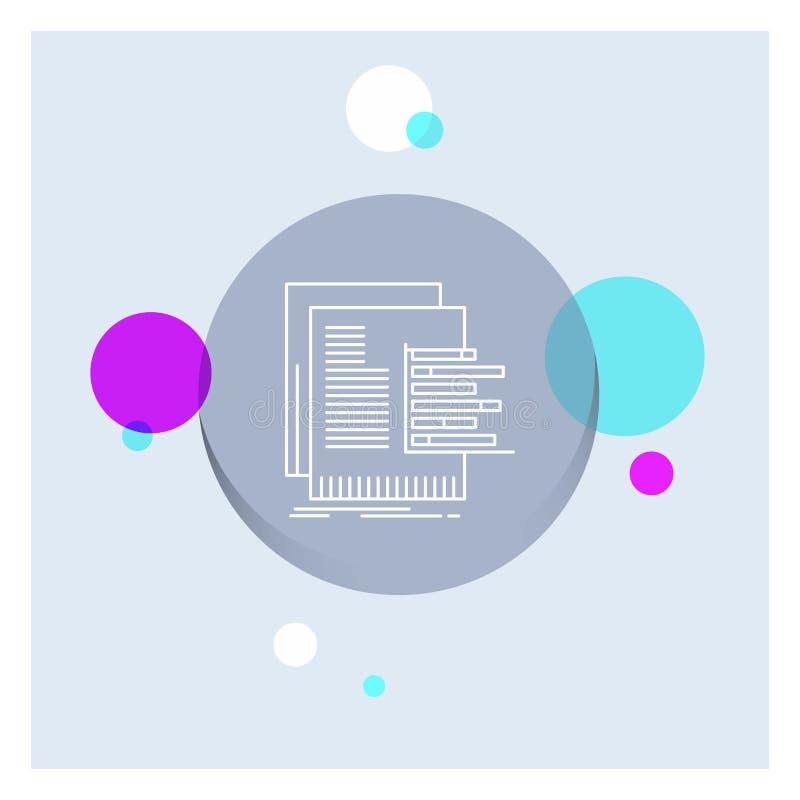carta, datos, gráfico, informes, línea blanca fondo colorido de la evaluación del círculo del icono ilustración del vector