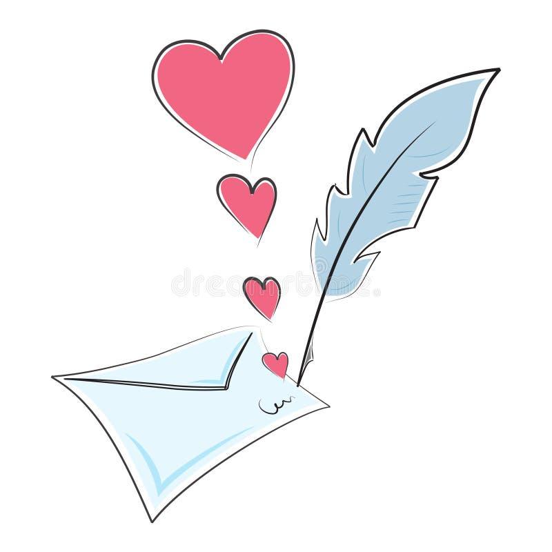 Carta de amor ilustración del vector