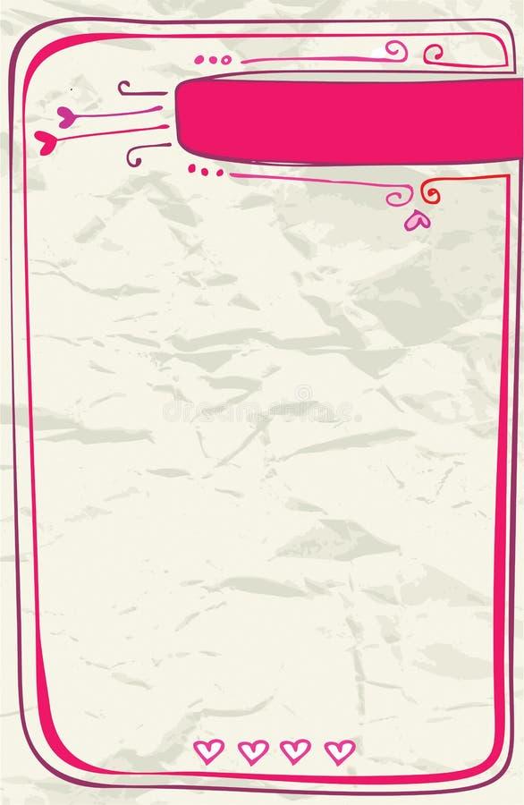 Carta de amor de la tarjeta del día de San Valentín stock de ilustración
