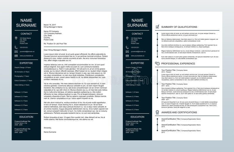 Carta de apresentação criativa minimalista do vetor e um molde da página Resume/CV ilustração royalty free