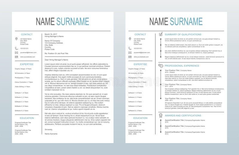 Carta de apresentação criativa minimalista do vetor e um molde da página Resume/CV no fundo branco ilustração royalty free