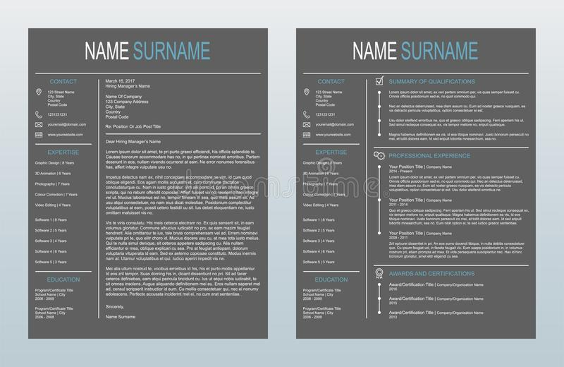 Carta de apresentação criativa minimalista do vetor e um molde da página Resume/CV no fundo do carvão vegetal ilustração do vetor