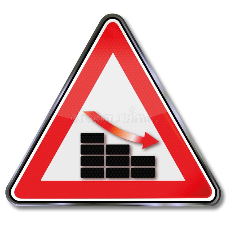 Carta de barra, acción y descenso de la muestra ilustración del vector