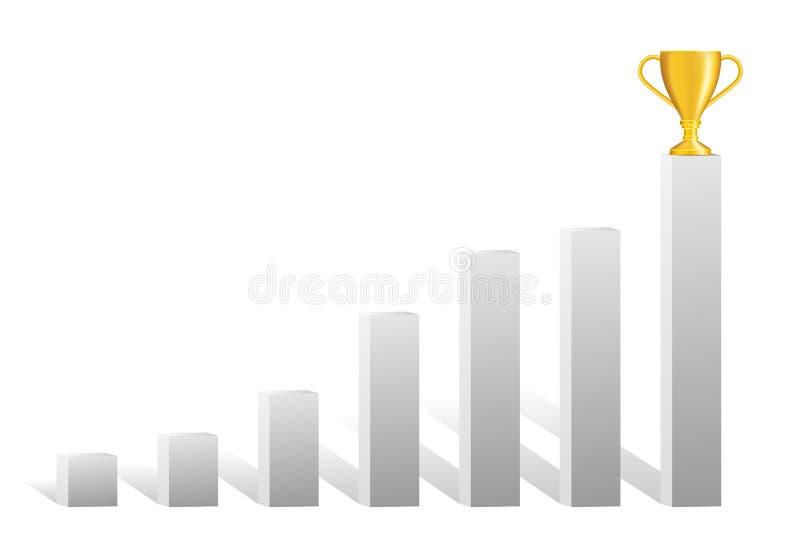 Carta de barra cinzenta protegida realística crescente com troféu dourado sobre a ilustração stock