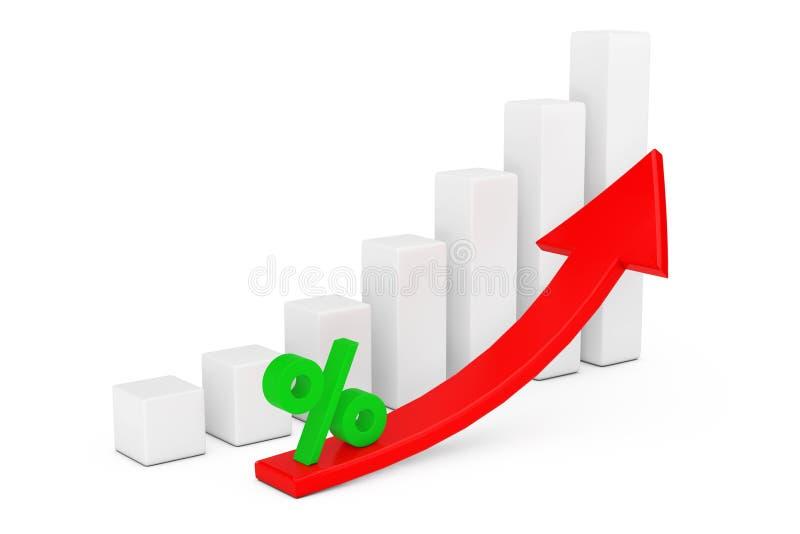 Carta de barra crescente do negócio com os Sig vermelhos de aumentação da seta e dos por cento ilustração do vetor