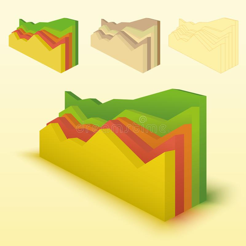carta de barra 3d, elemento do gráfico de barra Gráficos de vetor editáveis Ilustração para o negócio, finança, conceitos do cres ilustração royalty free