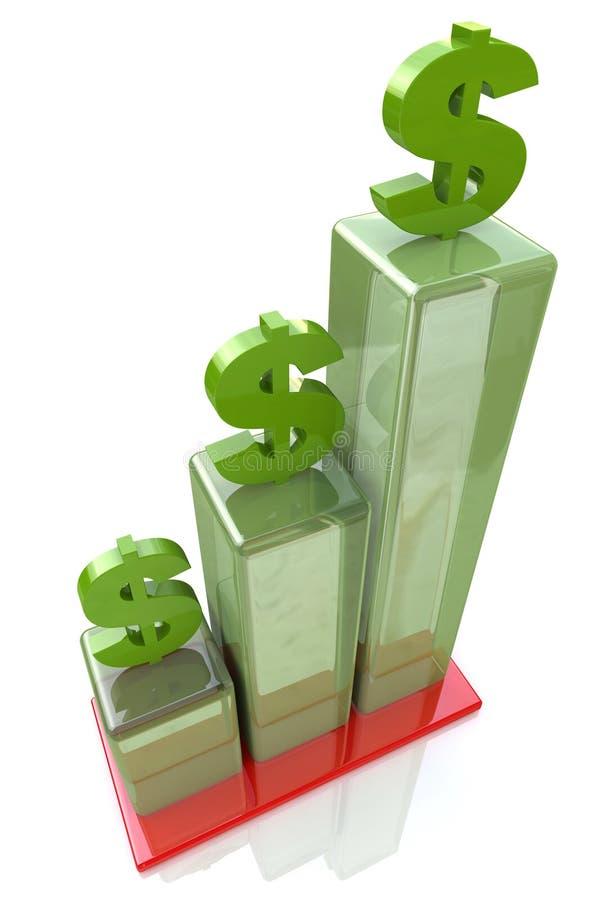 Carta de barra do crescimento financeiro, sinal de dólar ilustração do vetor