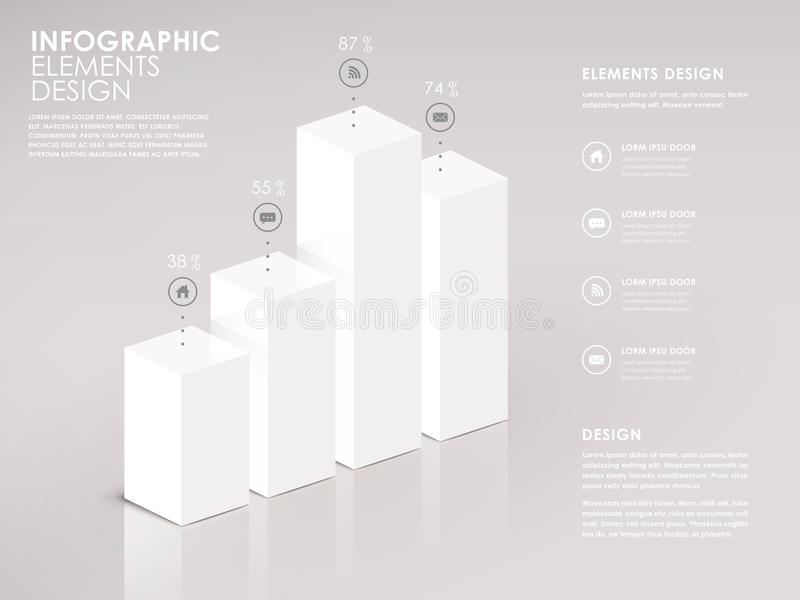 Carta de barra moderna del blanco 3d infographic stock de ilustración