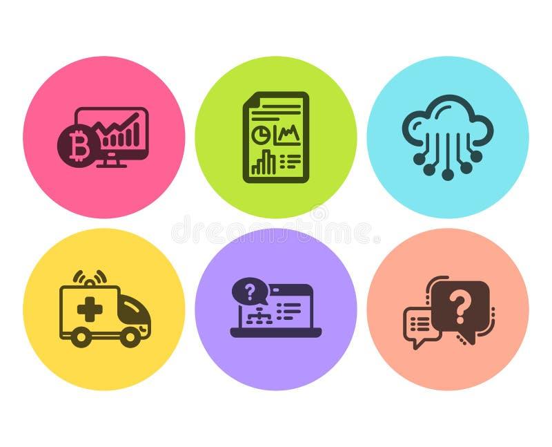 Carta de Bitcoin, de armazenamento da ajuda online e da nuvem grupo dos ícones Documento do relatório, carro da ambulância e sina ilustração do vetor