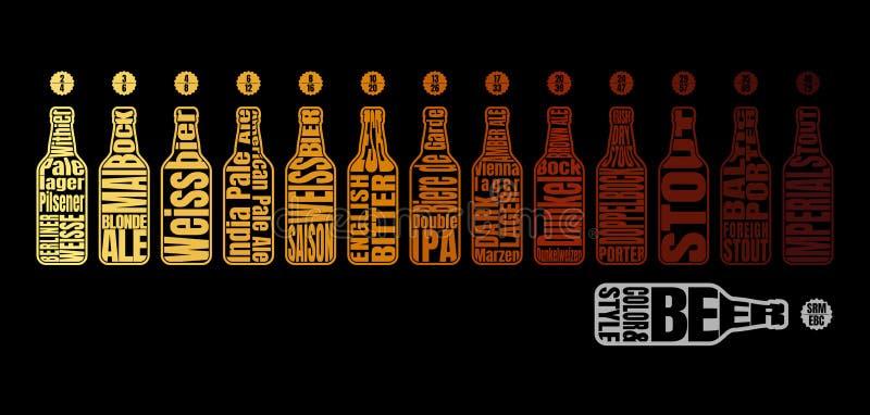 Carta de color de la cerveza stock de ilustración