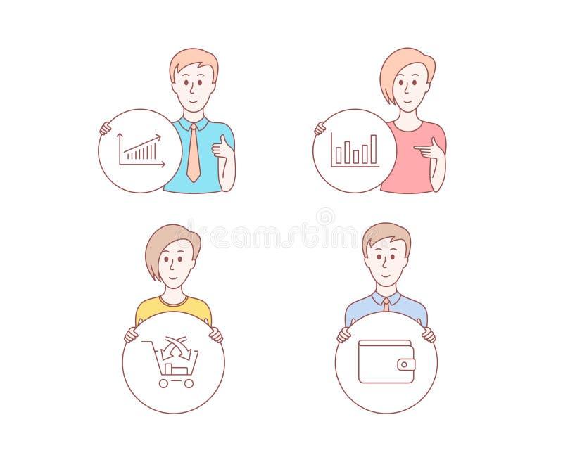 Carta de coluna, venda transversal e ícones da carta Sinal da carteira do dinheiro Gráfico financeiro, retalho do mercado, método ilustração do vetor