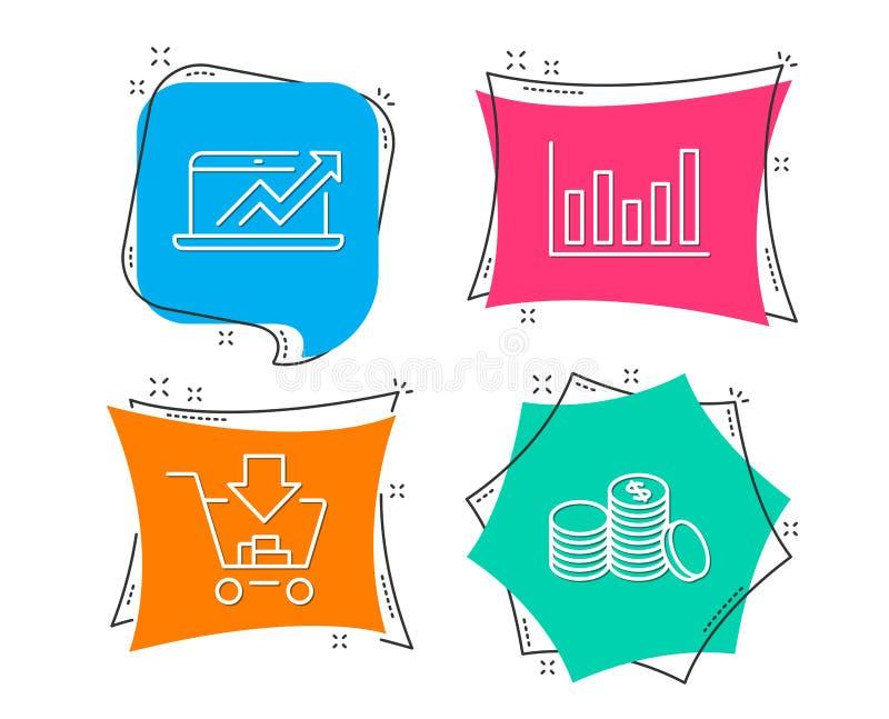 A carta de coluna, vendas diagram e ícone da compra Sinal do dinheiro de operação bancária ilustração do vetor