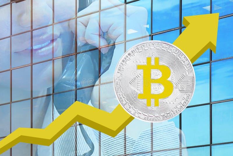 Carta de crecimiento de Bitcoins concepto comercial del cryptocurrency fotografía de archivo