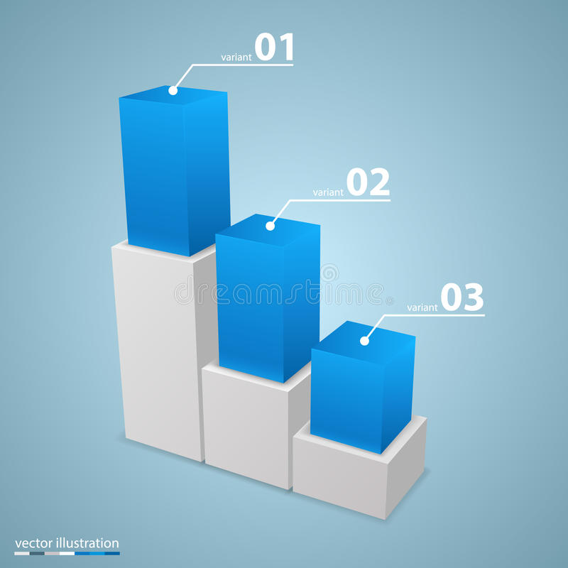 Carta de crecimiento de los datos 3d libre illustration