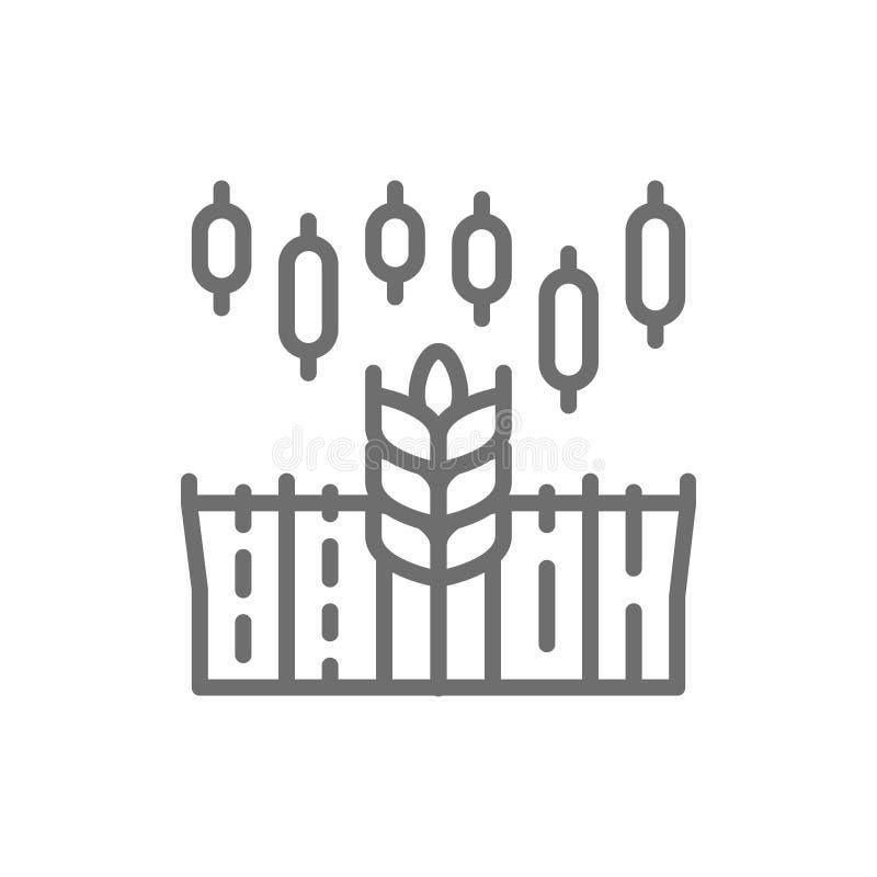 Carta de crecimiento del ?ndice del trigo, precio creciente de comida, l?nea icono del comercio del mercado de acci?n ilustración del vector