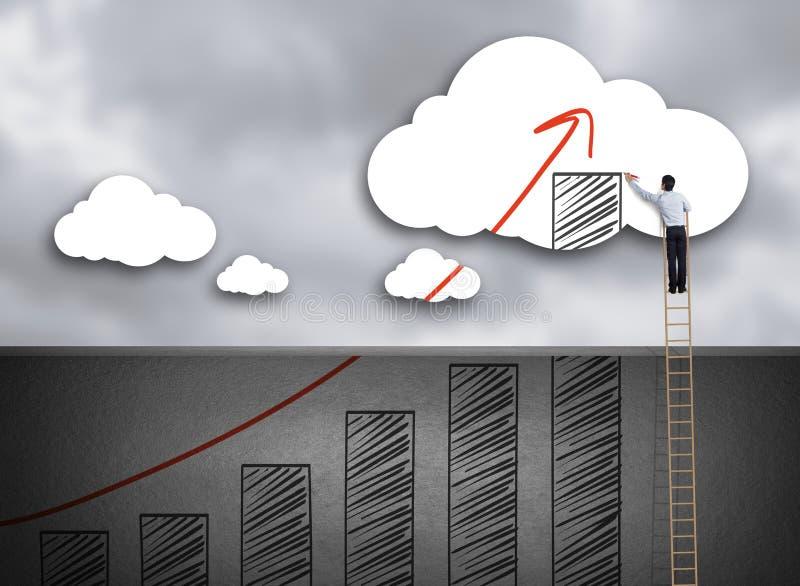 Carta de crecimiento del dibujo de la escalera del hombre de negocios que sube en la nube imagenes de archivo