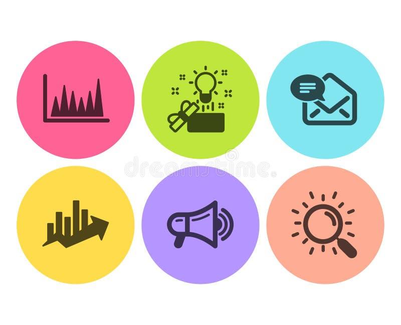 Carta de crecimiento, nuevo correo y sistema creativo de los iconos de la idea Muestras de línea gráfico, del megáfono y de la bú stock de ilustración