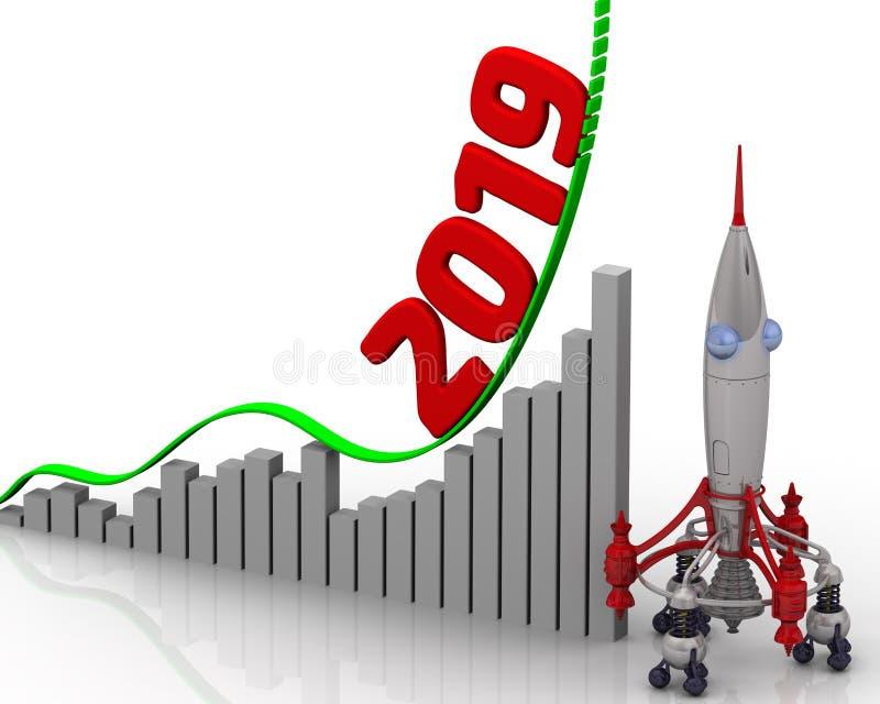 Carta de crecimiento por 2019 años stock de ilustración