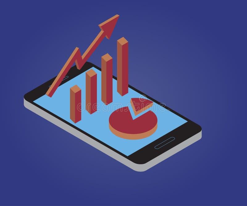 Carta de crecimiento, smartphone 1 stock de ilustración