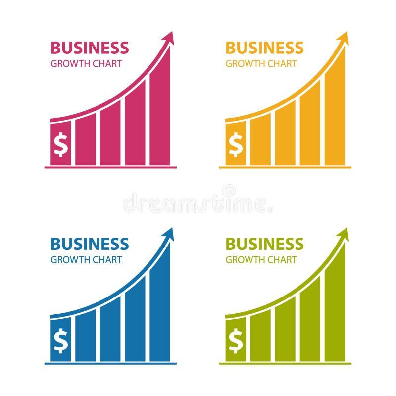 Carta de crescimento do dólar do negócio - ícones coloridos do vetor - isolada no branco ilustração do vetor
