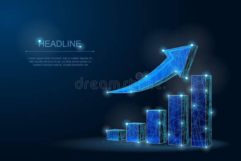 Carta de crescimento poligonal abstrata com a seta de escalada com pontos e estrelas fotografia de stock royalty free