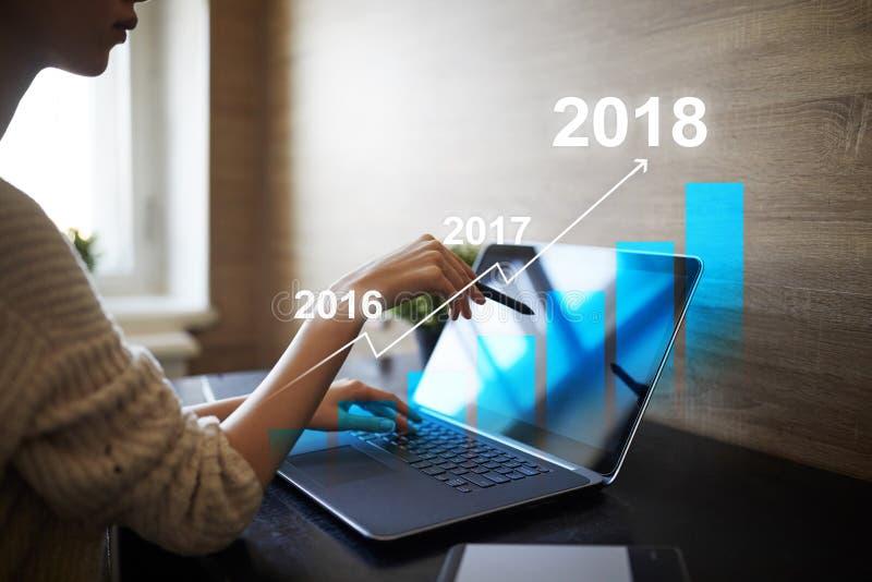 carta de crescimento de um lucro de 2018 anos, conceito do negócio, da finança e do investimento na tela virtual Objetivos que aj fotos de stock