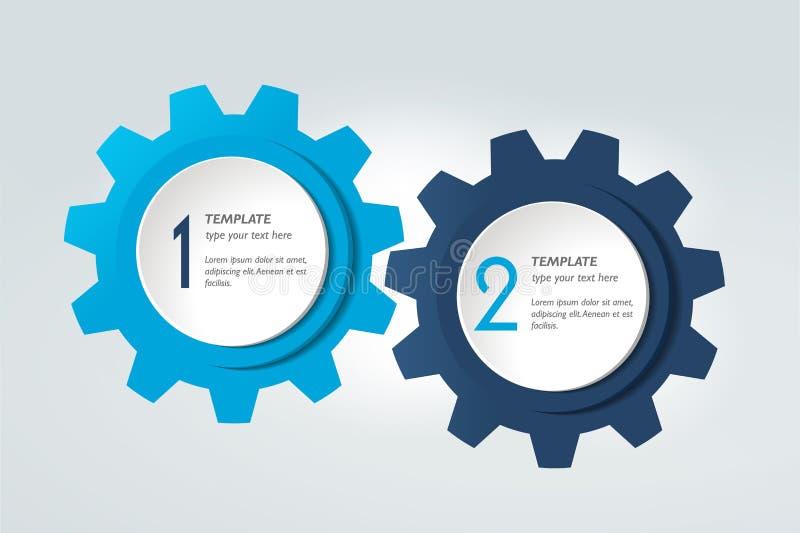 Carta de dos elementos, esquema, diagrama Modelo de Infographic stock de ilustración