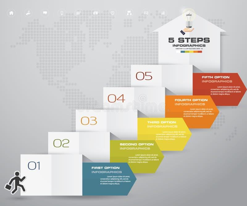 carta de elemento del infographics de la flecha de 5 pasos para la presentación libre illustration