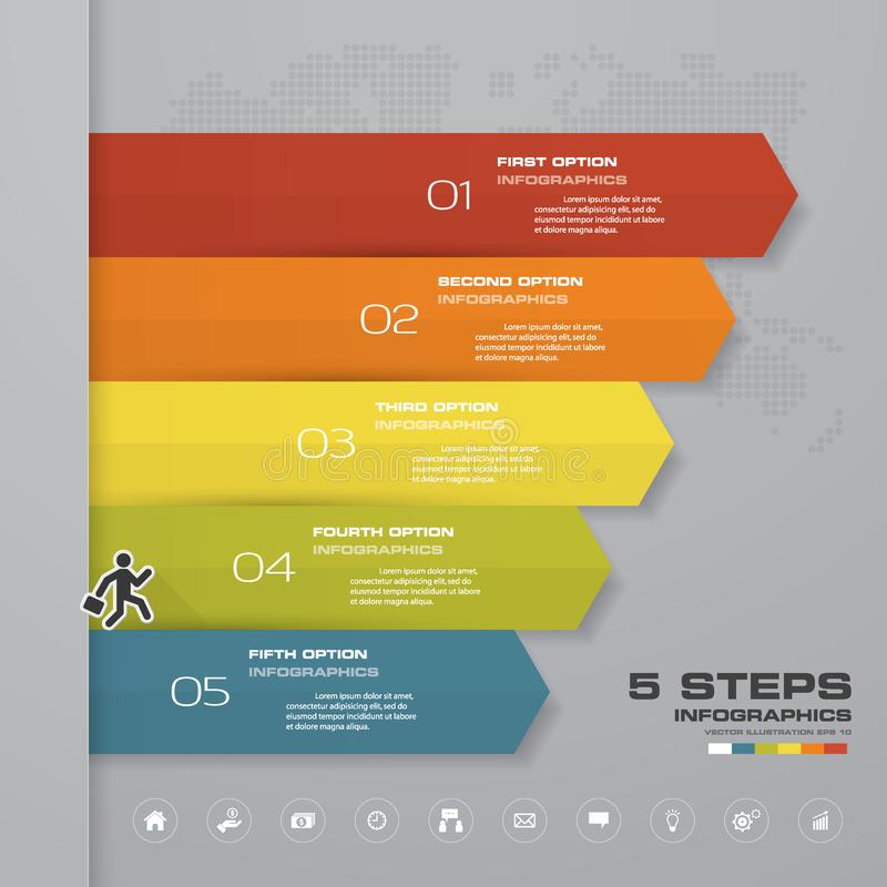 carta de elemento do infographics da seta de 5 etapas para a apresentação ilustração stock