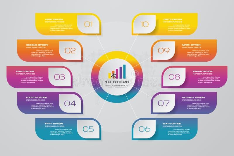 carta de elemento infographic de 10 pasos para la presentación de datos stock de ilustración