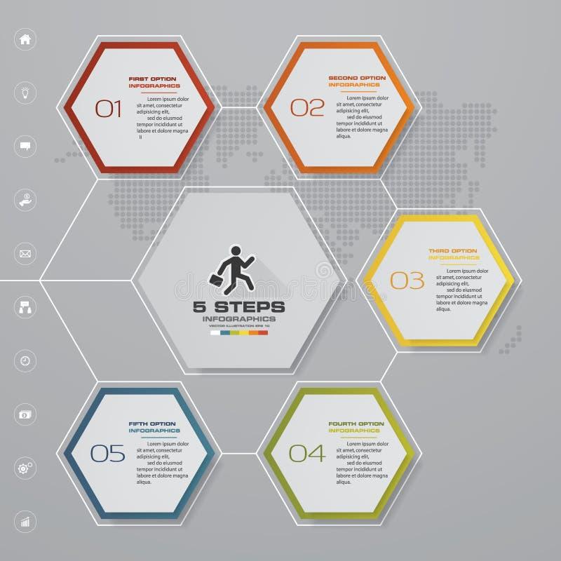 carta de elemento de Infographics de 5 etapas para a apresentação Eps 10 ilustração royalty free