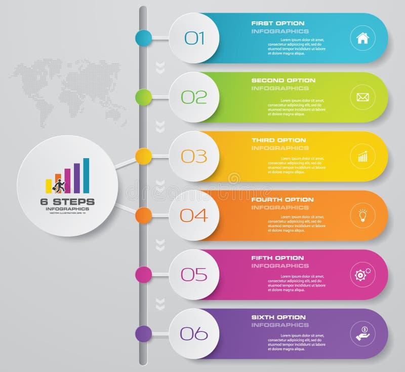 carta de elemento de Infographics de 6 etapas para a apresentação Eps 10 ilustração royalty free
