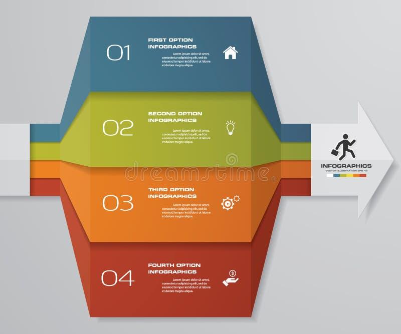 carta de elemento de Infographics de 4 etapas para a apresentação Eps 10 Molde da seta para a apresentação do negócio ilustração royalty free