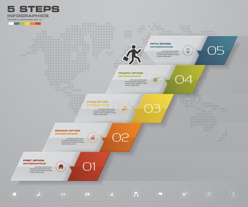 carta de elemento de Infographics de 5 pasos para la presentación EPS 10 ilustración del vector