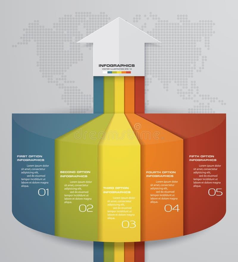 carta de elemento de Infographics de 5 pasos para la presentación EPS 10 Plantilla de la flecha para la presentación del negocio libre illustration