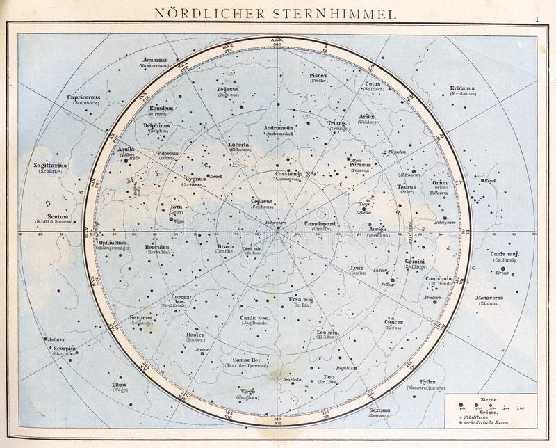 Carta de estrela do vintage, 1890. fotos de stock