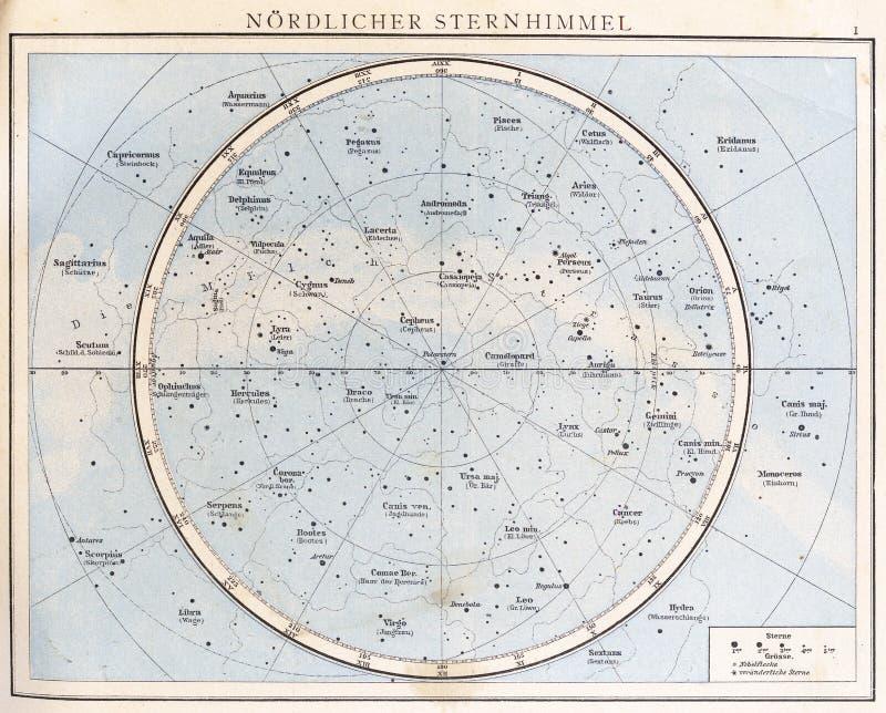 Carta de estrella del vintage, 1890. fotos de archivo