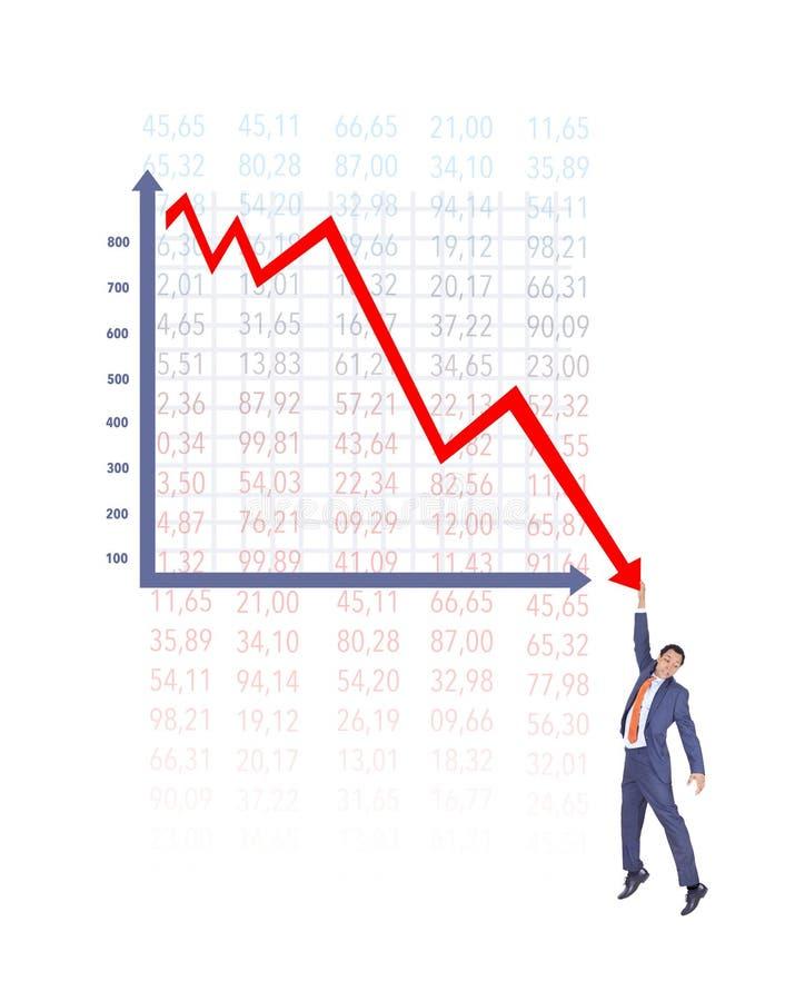 Carta de On Falling Down del hombre de negocios stock de ilustración