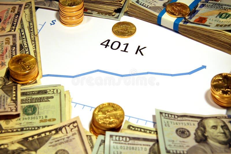 Carta de 401k que sube con el dinero y el oro foto de archivo libre de regalías