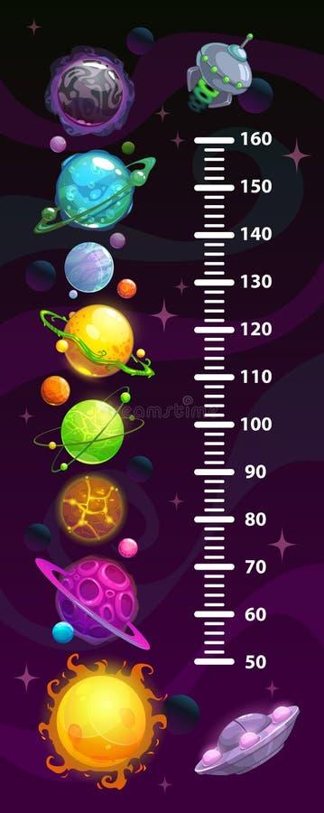 Carta de la altura del espacio de los niños, metro cósmico de la pared con los planetas de la fantasía de la historieta stock de ilustración