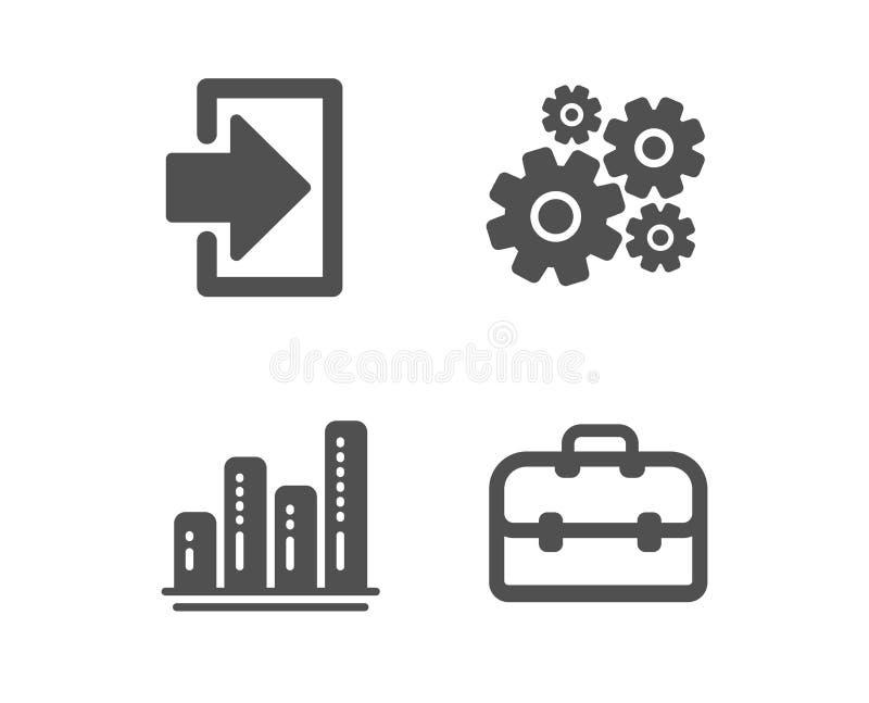 Carta de la clave, del gr?fico e iconos de la rueda dentada Muestra de la cartera Firme adentro, informe del crecimiento, herrami libre illustration